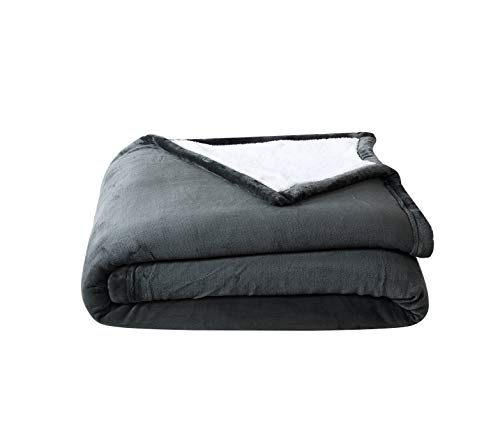 Chezmoi Collection Micromink Sherpa Reversible Throw Blanket (King, Gray)