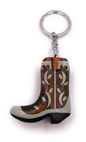 Onwomania - '-Cowboystiefel Stiefel Schuhe Schlüsselanhänger - Holz Glücksbringer ideal als Geschenk z.B. für den besten Freund, die beste Freundin, Mama - Für Männer, Frauen & Kinder