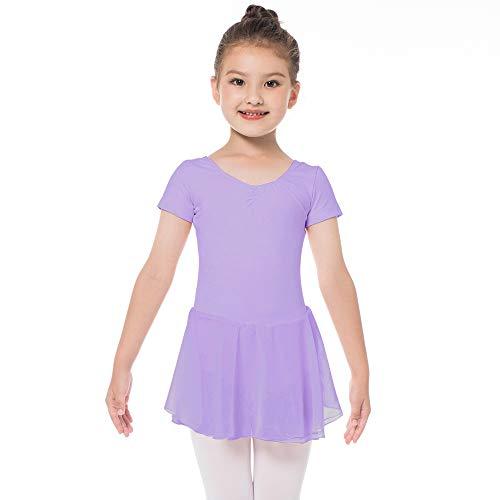 Kinder Ballettkleidung Mädchen Ballettkleid Kurzarm Balletttrikot Ballettanzug Tanzkleid Tanzbody aus Baumwolle mit Chiffon Rock Tütü (140 (130-140cm, 10-11 Jahre), Lila)