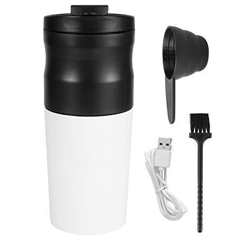 Moulin à café électrique 427Ml, moulin à grains électrique en acier inoxydable 1200Mah Mini moulin à grains de cuisine avec câble USB pour la maison, le bureau, la voiture(blanc)