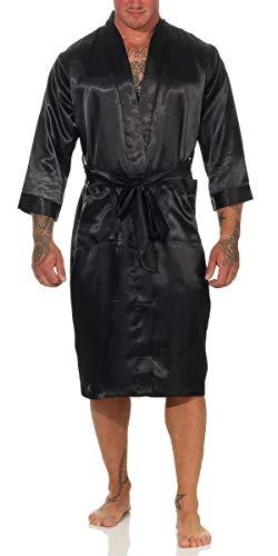 EloModa Herren Morgenmantel Kimono Robe Bathrobe Bademantel Glanz Schwarz Rot Blau M L XL XXL 3/4 Arm