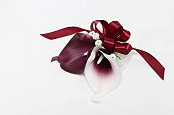 Angel Isabella LLC Keepsake Artificial Real Touch Burgundy Calla Lily and Baby Breath Bouquet Corsage or Boutonniere  Wrist Corsage