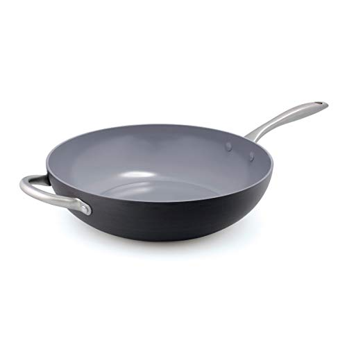 GreenPan Lima 12.5' Ceramic Non-Stick Open Wok with Helper Handle, Black -