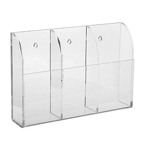Vektenxi Acryl Halter Fernbedienung Halter Medien Aufbewahrungsbox Klare Fernbedienung Geeignet für TV und Kühlschrank Fernbedienung und so weiter 3 Gitter Stilvoll