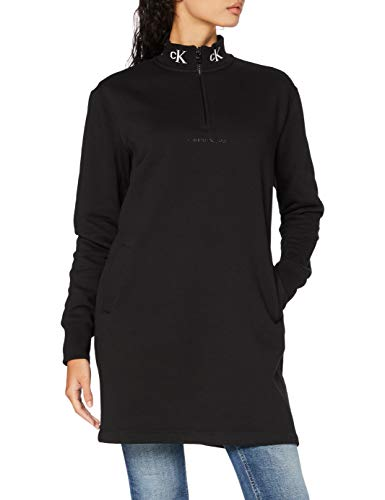 Calvin Klein Logo Trim Mock Neck Zip Dress Vestido, CK Black, S...