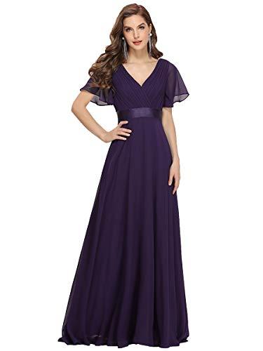 Ever-Pretty Damen Abendkleid Frau A-Linie Brautjungfernkleid V Ausschnitt Hochzeit lang Dunkel Violett 36
