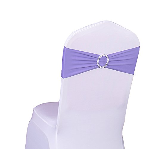 SINSSOWL 100PCS Stretch Wedding Chair Bands with Buckle Lycra Slider Sashes Bow Decorations 25 Colors (Lavendar) …