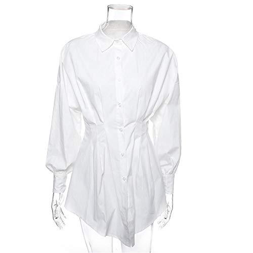 Elegante witte overhemdjurk Dames Lace-Up Mini korte herfstjurk Street Wear