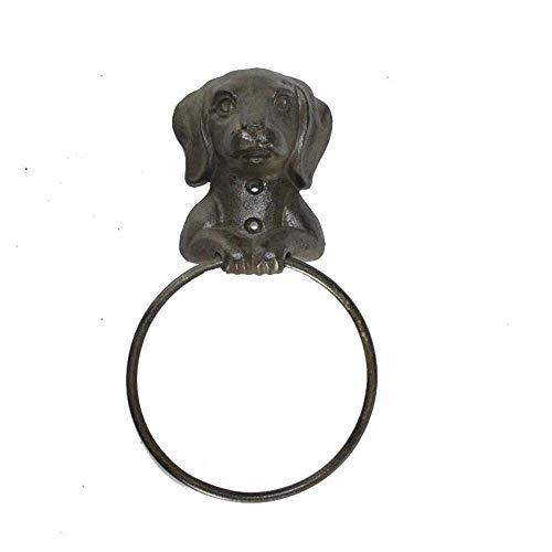 TentHome Handtuchringe Antik Gusseisen Wand Halterung Handtuchalter Shabby Deko Hund für Küchen, Badezimmer Accessoires Badzubehör Badetuchring