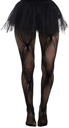 Brandsseller Leotardos de malla para mujer, diseo de araas, color negro, talla nica