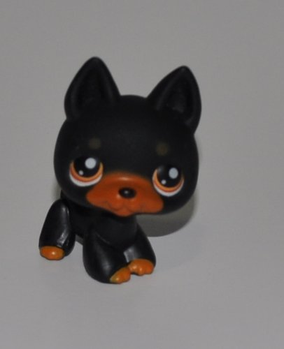 Doberman #92 (German Shephard Mold: Black, Orange Eyes) - Littlest Pet Shop (Retired) Collector Toy - LPS Collectible Replacement Figure - Loose (OOP Out of Package & Print)