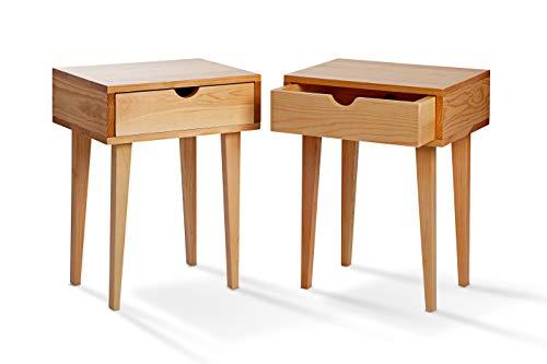 SUENOSZZZ - Pack de 2 mesitas de Noche Color Haya, Estilo nordico para Dormitorio Mesita de diseño con Cajon | Mueble de...