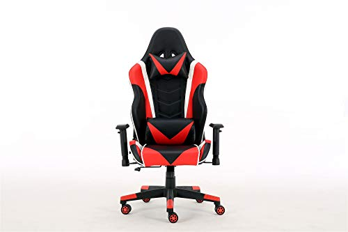 Gaming Chair Racing Office Computer Game Chair Ergonomic Backrest and Seat Height Adjustment Recliner Swivel Rocker with Headrest and Lumbar Pillow E-Sports Chair(Red) chair gaming red