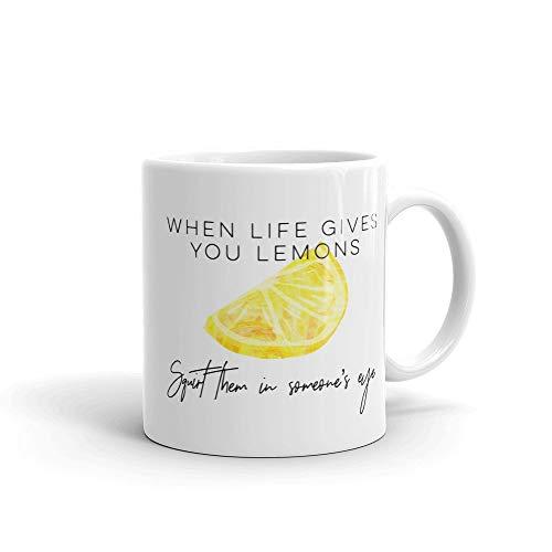 Wanneer het leven geeft u citroenen spuiten ze in iemands oog grappige office Mate collega koffie mok housewarming cadeau sarcastische humor keramische beker