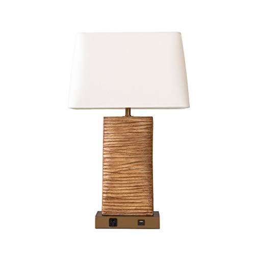 lámpara de escritorio Protección for los ojos pequeña lámpara de mesa retro corteza de madera Protección de los ojos grano de Escritura de la lámpara ajustable lámpara de mesa suave luz de la lámpara