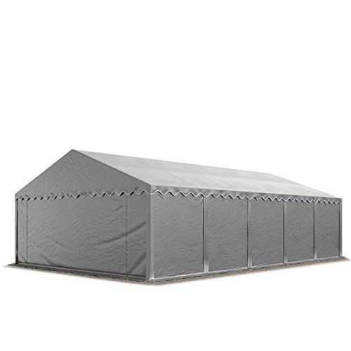 TOOLPORT 5x10 m Heavy Duty Storage Tent with GROUNDBAR Shed Temporary Shelter Fabric Warehouse Building Steel Construction PVC grey