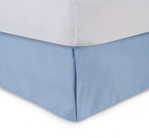 Unique Beddings Egyptian Cotton Bed-Skirt (Queen, Light Blue) with 16' Inch Drop Length - 100% Long Staple Cotton - Pleated Split Cornor Bed Skirt (Style : Solid)