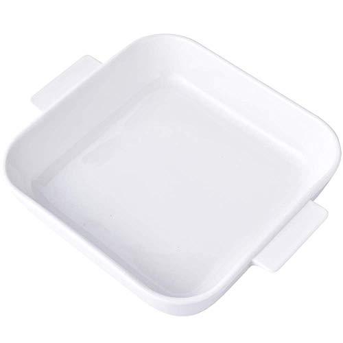 GPWDSN Utensilios para Hornear Vajilla de cerámica Plato Rectangular para Hornear Plato para Ensalada de arroz Mango 2 Utensilios para Hornear para Horno (Blanco, 30,4 × 25,5 × 5,7 cm)