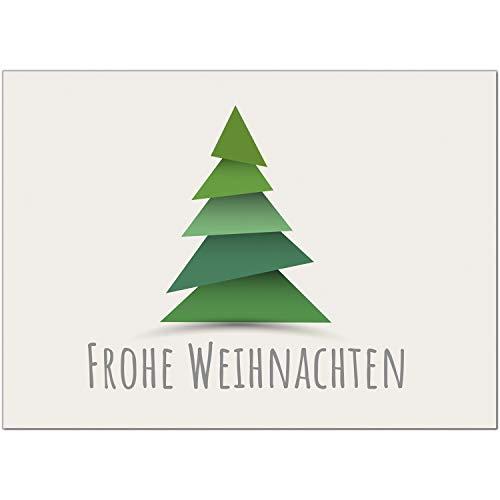 15 x moderne Weihnachtskarten mit Umschlag, Motiv Tannenbaum Modern für Firmen - Grußkarten im Postkarten Format/Weihnachten/im Set