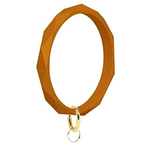zwyjd Armband Schlüsselanhänger Silikon Armreif Schlüsselanhänger Großer Kreis Armreif Schlüsselanhänger für Frauen Geometrische Form Silikon Schlüsselanhänger für Frauen,Orange