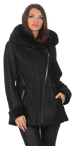 Hollert Lammfelljacke - Lena Damen Winterjacke Merino Felljacke Echtleder Jacke mit Kapuze Größe M, Farbe Schwarz