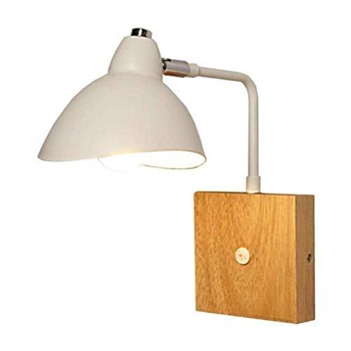 LLLKKK Lámpara de pared moderna lámpara de pared giratoria ajustable con interruptores, lámpara de pie redonda de hierro Lampshade, color blanco, A