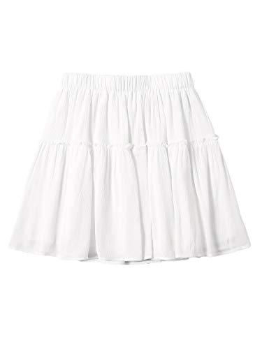 SheIn Women's Elastic Waist Frill Mini Skirt Flared A Line Solid Short Skirts White Medium