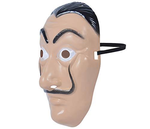 Maschera Casa di Carta (MAS-20) Salvador Dali Taglia Unica per Adulti e Ragazzi Casa De Papel Travestimento per Carnevale Halloween Feste a Tema