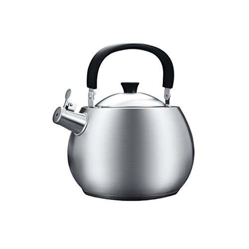 Affordable YONGJUN 4.7qt-4.5L Versatile Stainless Steel Whistling Teapot With Black Handle