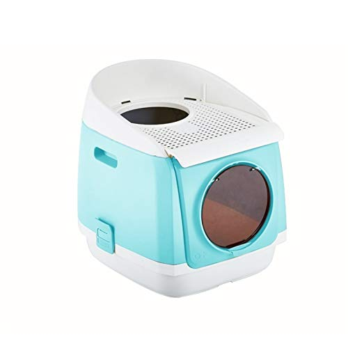 Tingting1992 Caja de Arena Caja de Arena de Gato Cerrado Doble Puerta Plegable Cat Potty Sigues Sigue Latter Basin Pet Supplie, 45.9cm × 54.9cm × 49.2cm para Gatos (Color : Blue)