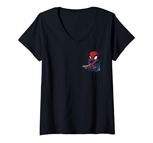 Womens Marvel Spider-Man Kawaii Trapped In A Pocket V-Neck T-Shirt