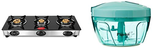 Pigeon Favourite 3 Burner Black Line Cook Top stove, Black + New Handy Plastic Chopper with 3 Blades, Green