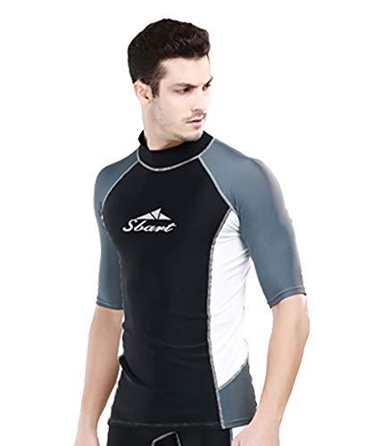 Costume da bagno da uomo e ragazzo, a maniche corte, con protezione UV, set da immersione (XXL, top)