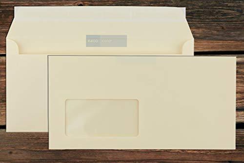 Elco Color Briefumschläge mit Fenster (lasertauglich) / hellchamois-creme / 114x229 mm (DL) / mit Abziehstreifen/haftklebend / 250 Stück