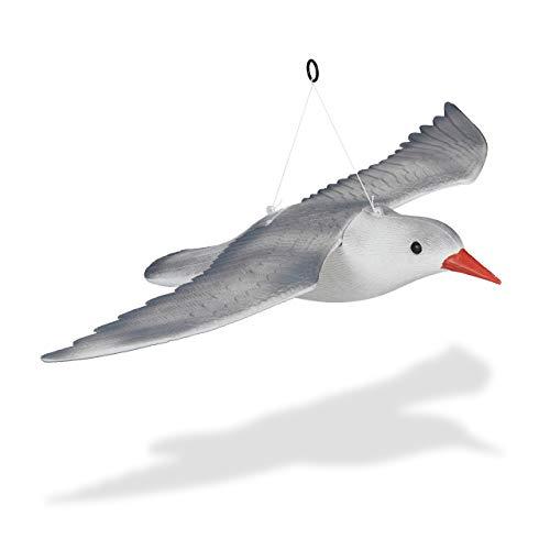 Relaxdays Vogelschreck Möwe, fliegend, zum Aufhängen, Dekofigur, Taubenschreck für Garten, Balkon, Terrasse, weiß/grau