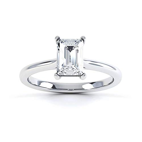 Dubai Gems Anillo de diamante creado de 1,7 quilates con acabado de oro blanco y corte esmeralda. Anillo para mujer, regalo de compromiso para ella, Acabado en oro blanco, Diamante sintético,