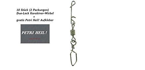 Jenzi Set: 2 Packungen (insgesamt 10 Wirbelkarabiner) Knotenlos Schnurverbinder mit Wirbel und Duo-Lock Karabiner+ gratis Petri Heil! Aufkleber (24 kg)