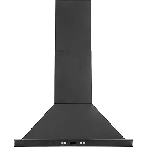 """DKB 30"""" Inch Wall Mounted Range Hood Stainless Steel In Black With Halogen Lights 600 CFM"""