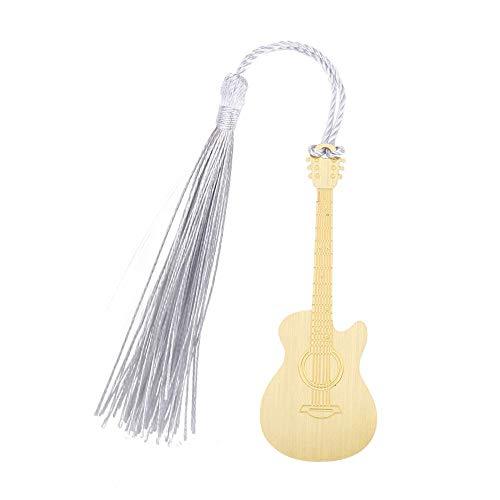 Dilwe Lesezeichen, Klassische Kupfer kreative handgemachte Gitarre Form Lesezeichen mit Quaste für Geschenk