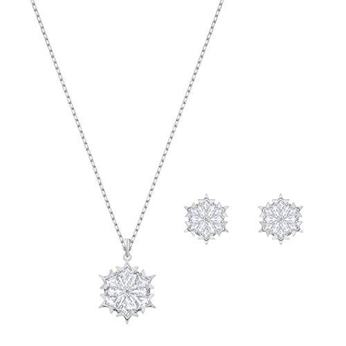 Swarovski Conjunto Magic Snowflake, Blanco, Baño de Rodio