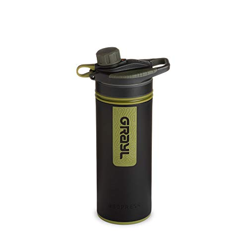 GRAYL Geopress 24 oz. Water Purifier Bottle Ideal for Global Travel, Backpacking, Camping, Hiking & Survival (Camo Black)