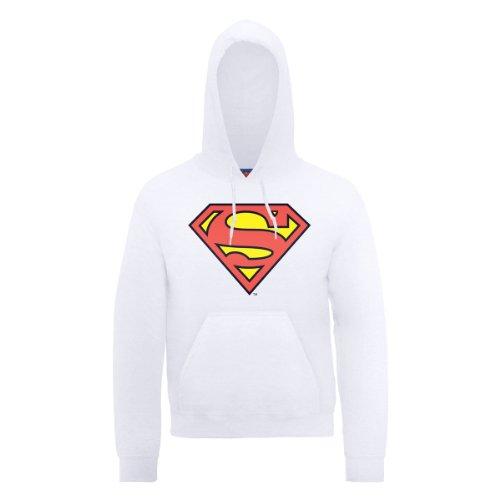 DC Comics DC0000136 Official Superman Shield Sweat-shirt à capuche, blanc, XL Homme