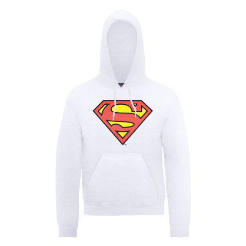 DC Comics DC0000136 Official Superman Shield Sweat-shirt à capuche, blanc, XL Homme