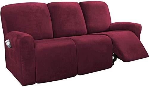 WLVG 8 piezas fundas de sofá reclinables de terciopelo, elásticas para sofá de 3 fundas de sofá, gruesas, suaves, lavables, con parte inferior elástica (K)