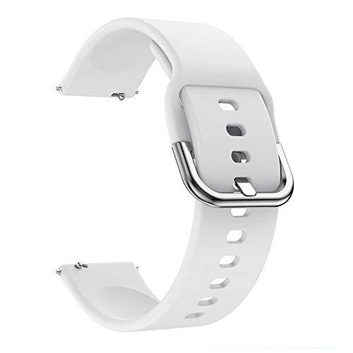 Fesjoy Correa de silicona intercambiable de 22 mm, con hebilla, compatible con Samsung Galaxy Watch Active2, color blanco