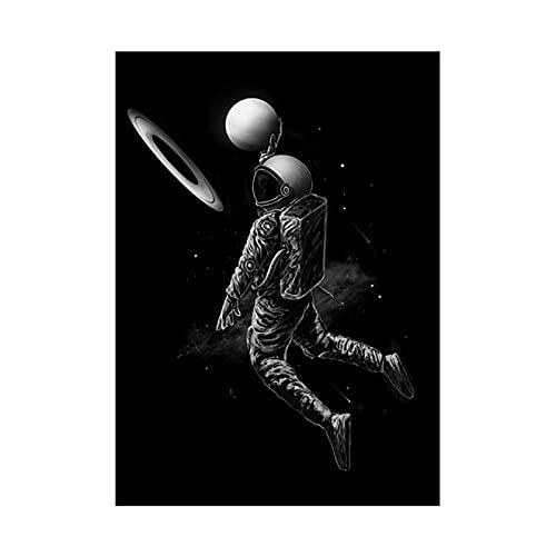 Lomoko Astronauta Jugando Baloncesto en el Espacio Fun Art Canvas Painting Posters e Impresiones Imágenes artísticas de Pared para Sala de Estar -40x60CM Sin Marco