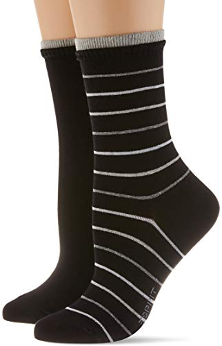 ESPRIT Damen Easy Stripe 2-Pack W SO Socken, schwarz (Black 3000), 39-42 (UK 5.5-8 Ι US 8-10.5) (2er Pack)