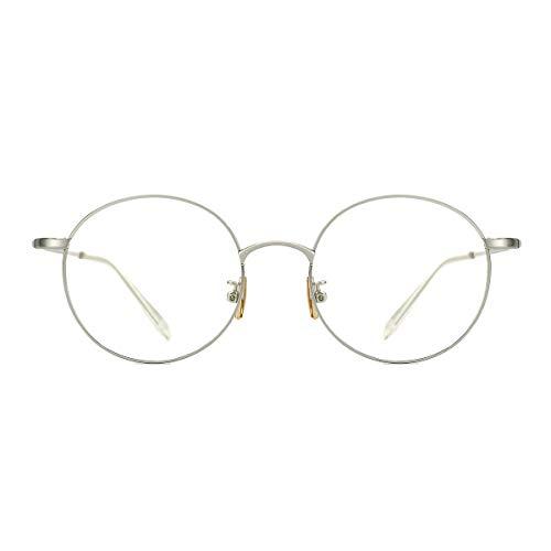 TIJN TIJN Damen Anti Blaulichtfilter Brille Retro Metal Round Brillen Rahmen Computer Brille
