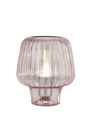 Lighting Collection Innovative Quirky and Modern 1 Light Perforated, Ribbed Glass Table Lamp, Blush Pink