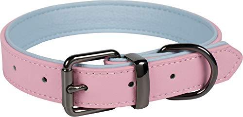 Puccybell hondenhalsband 2 kleuren met leer, klassieke halsband in contrasterende kleuren voor kleine, middelgrote en grote honden HB004, Größe L: 34-45cm, Roze - lichtblauw